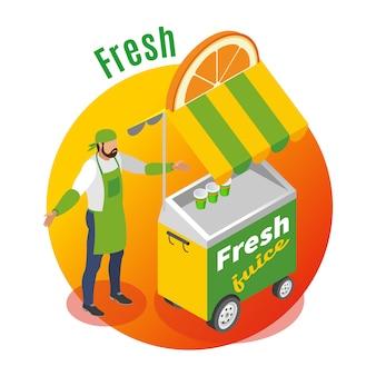Chariot de nourriture de rue avec le vendeur de jus de fruits frais sur gradient rond