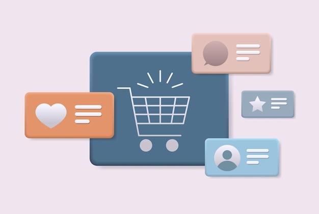 Chariot panier icône en ligne shopping concept horizontal