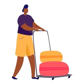 Chariot à passagers avec valises