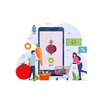 Chariot de personnages de personnes achetant des produits alimentaires d'épicerie dans l'application mobile