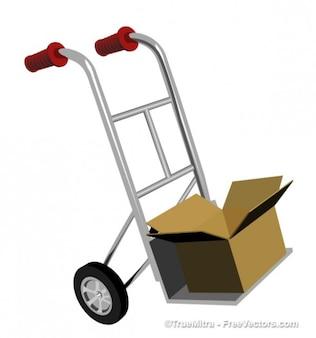 Chariot porteur d'une boîte de