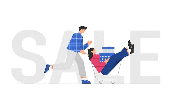 Chariot de poussée homme avec femme cale des boîtes avec des cadeaux.
