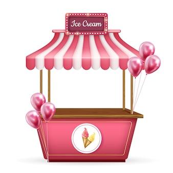Chariot réaliste 3d, stand de kiosque de nourriture. boutique rose avec crème glacée et ballons