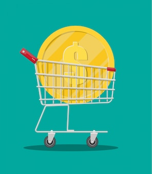 Chariot de supermarché en métal avec grosse pièce d'or