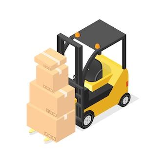 Chariots élévateurs et boîtes en carton. vue isométrique. illustration