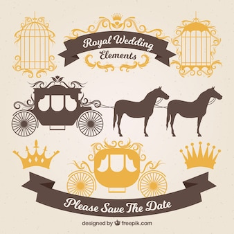 Chariots de mariage en or et ornements