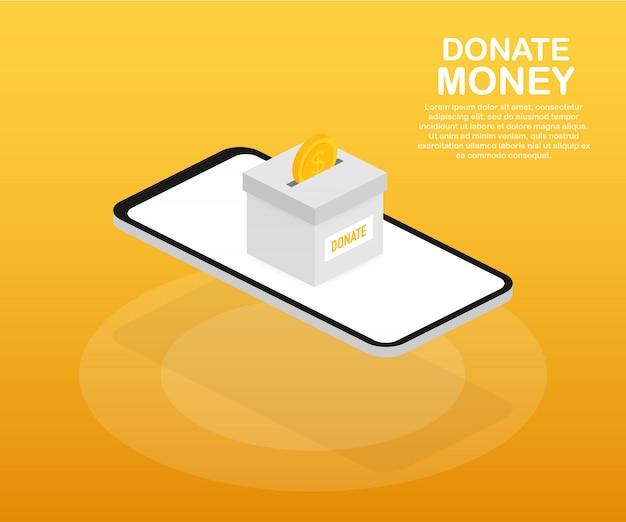 Charité, concept de don. donnez de l'argent avec la boîte business, finance.