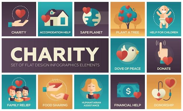 Charité - ensemble d'éléments d'infographie design plat. icônes carrées. aide au logement, planète sûre, planter un arbre, enfants, colombe de la paix, faire un don, secours familial, partage de nourriture, aide humanitaire