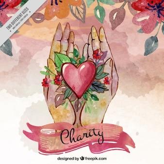 Charité fond d'aquarelle, le cœur et les mains