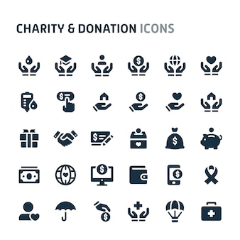 Charity & donation icon set. série d'icônes fillio black.