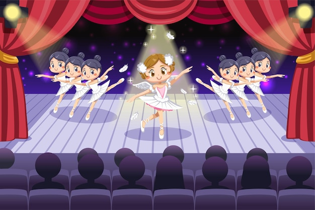 Charmante femme montrant le ballet avec des danseurs sur scène avec un bel éclairage en personnage de dessin animé
