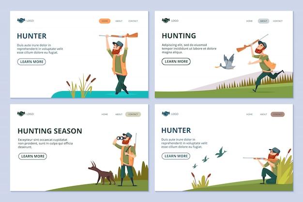 Chasse aux pages web. chasseur avec fusil, chien, bannières de canards