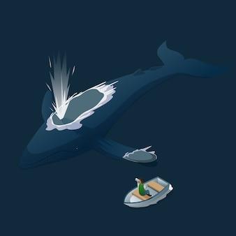 Chasse aux photos de baleine bleue isométrique