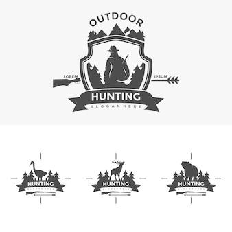 Chasse logo design modèle illustration vecteur