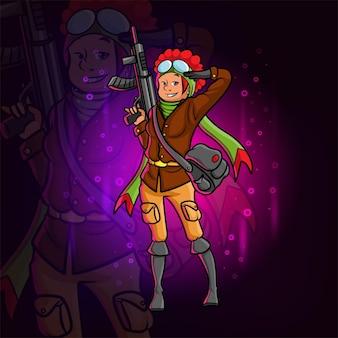 Le chasseur avec le fusil de chasse d'illustration