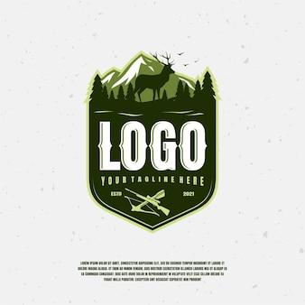Chasseur logo illustration premium vecteur