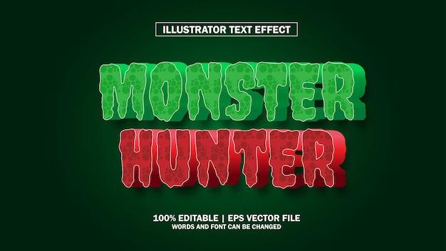 Chasseur de monstre à effet de texte premium modifiable