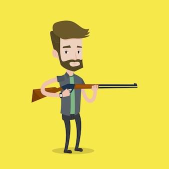Chasseur prêt à chasser avec un fusil de chasse.