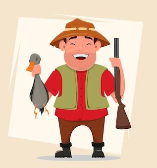 Chasseur tenant fusil et canard