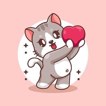 Le chat adorable donne la bande dessinée de coeurs