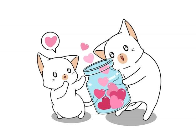 Chat adorable donne des coeurs à un ami