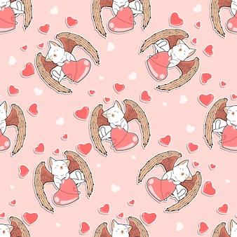 Chat ange sans couture avec motif coeur