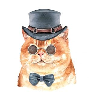 Chat aquarelle mignon avec costume.
