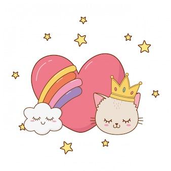 Chat et arc en ciel avec coeur