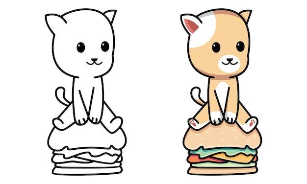 Chat assis sur un hamburger à colorier pour les enfants