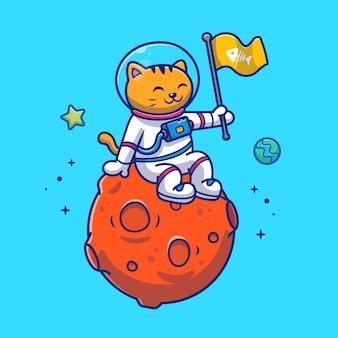 Chat d'astronaute assis sur l'illustration de la planète.