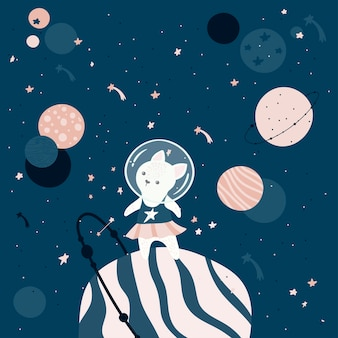 Chat astronaute dessiné à la main.