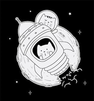 Chat astronaute sur la lune