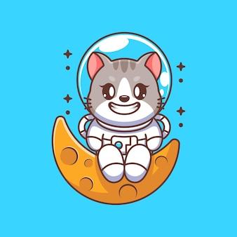 Chat astronaute mignon assis sur la lune