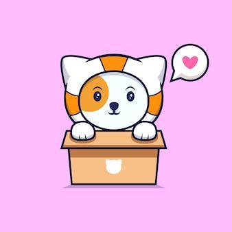 Chat astronaute mignon dans une boîte en carton