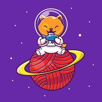 Chat d'astronaute tenant illustration d'icône de poisson. personnage de dessin animé de mascotte. concept d'icône animale isolé
