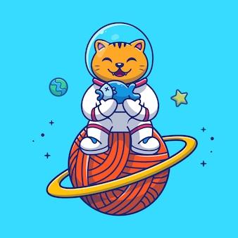 Chat d'astronaute tenant l'illustration de poisson. personnage de dessin animé de mascotte.
