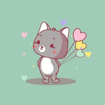 Chat de bébé mignon avec illustration vectorielle de ballons coeur
