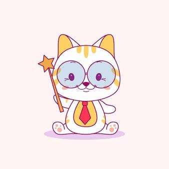 Chat de bébé mignon avec illustration vectorielle de bâton magique