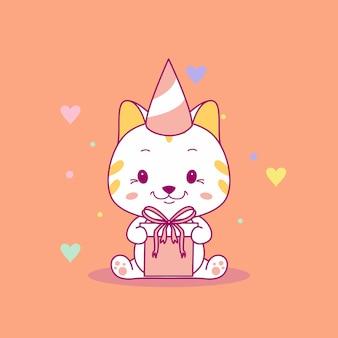 Chat de bébé mignon avec illustration vectorielle de boîte-cadeau