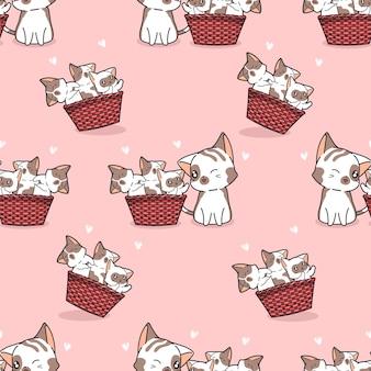 Chat et bébés sans couture dans le modèle de panier