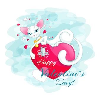 Le chat blanc flexible avec une souris se trouve sur le coeur rouge.