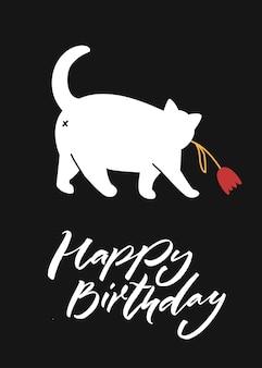 Chat blanc marchant et tenant une fleur joyeux anniversaire lettrage caractère mignon sur fond noir