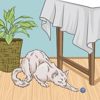 Chat blanc mignon animal de compagnie animal playng avec un ballon, intérieur de chambre style vintage maison illustration