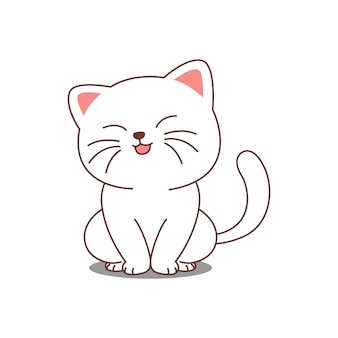 Chat blanc mignon assis et dessin animé souriant