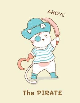 Chat blanc mignon en costume de pirate, illustration pour enfants