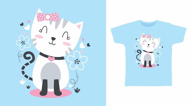 Chat blanc mignon avec fleur pour la conception de t-shirt