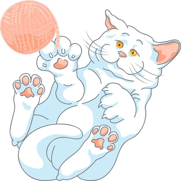 Chat blanc mignon de vecteur jouant avec une pelote de laine