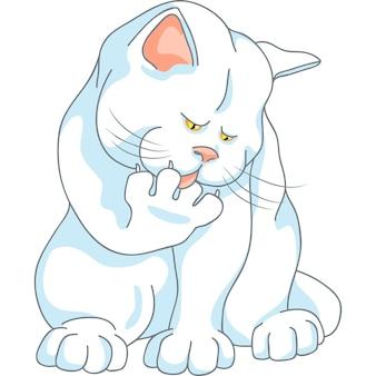 Le chat blanc mignon de vecteur se lave, léchant sa patte