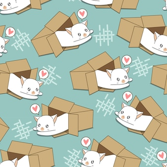 Chat blanc sans couture en motif de boîte.