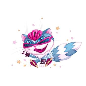 Chat bleu drôle dans un casque et des patins à roulettes.